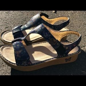 Alegria KEN-158W Kendra Blue Leather Sandals